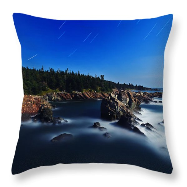 Quoddy Coast by Moonlight Throw Pillow by Bill Caldwell -        ABeautifulSky Photography
