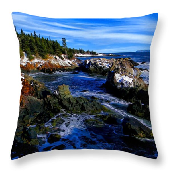 Quoddy Coast with Snow Throw Pillow by Bill Caldwell -        ABeautifulSky Photography