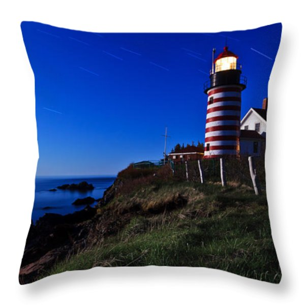 Quoddy Head by Moonlight Panorama Throw Pillow by Bill Caldwell -        ABeautifulSky Photography