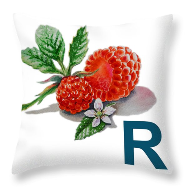 R Art Alphabet for Kids Room Throw Pillow by Irina Sztukowski