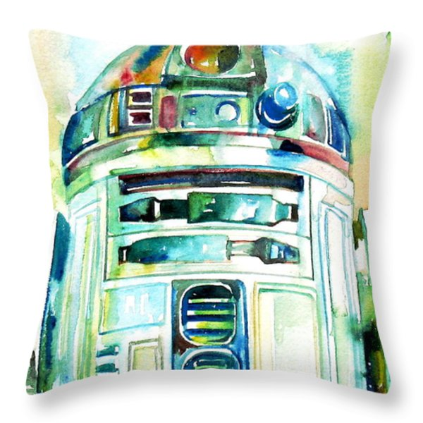 R2-D2 WATERCOLOR PORTRAIT Throw Pillow by Fabrizio Cassetta
