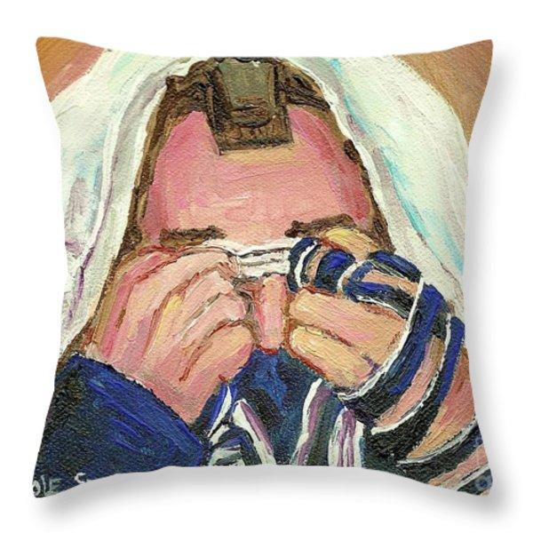 Rabbi's Prayer For The Sabbath Throw Pillow by Carole Spandau