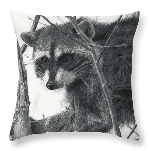 Raccoon - Charcoal Experiment Throw Pillow by Joshua Martin