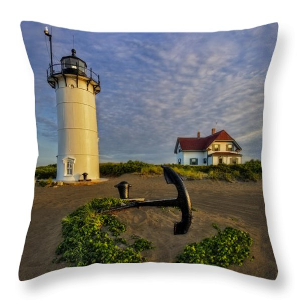 Race Point Lighthouse Throw Pillow by Susan Candelario