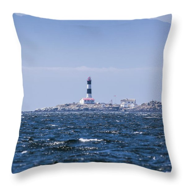 Race Rocks Lighthouse Is Situated Throw Pillow by Debra Brash