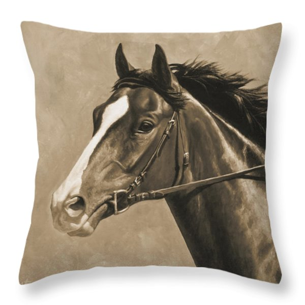 Racehorse Painting In Sepia Throw Pillow by Crista Forest