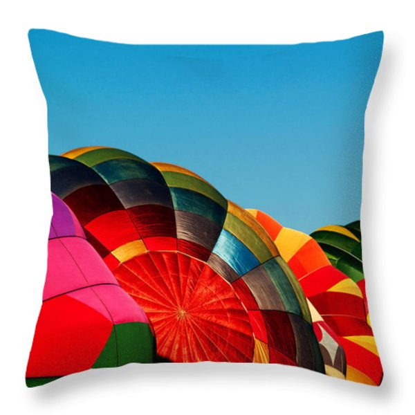 Racing Balloons Throw Pillow by Bill Gallagher
