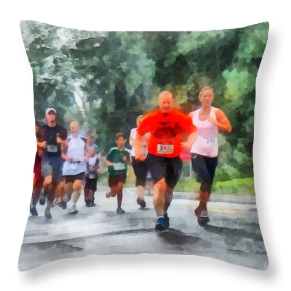 Racing in the Rain Throw Pillow by Susan Savad