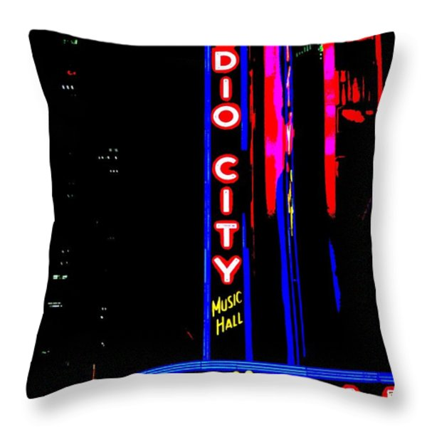 Radio City Music Hall Throw Pillow by Ed Weidman