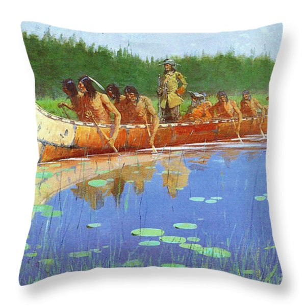 Radisson And Groseilliers Throw Pillow by Fredrick Remington