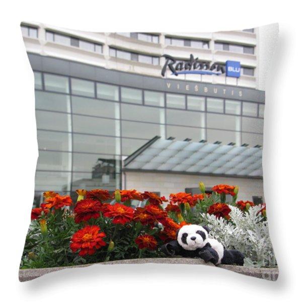 Radisson Blu Lietuva. Baby Panda Likes It Throw Pillow by Ausra Paulauskaite