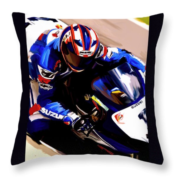 Rage With Machine Mat Mladin Throw Pillow by Iconic Images Art Gallery David Pucciarelli