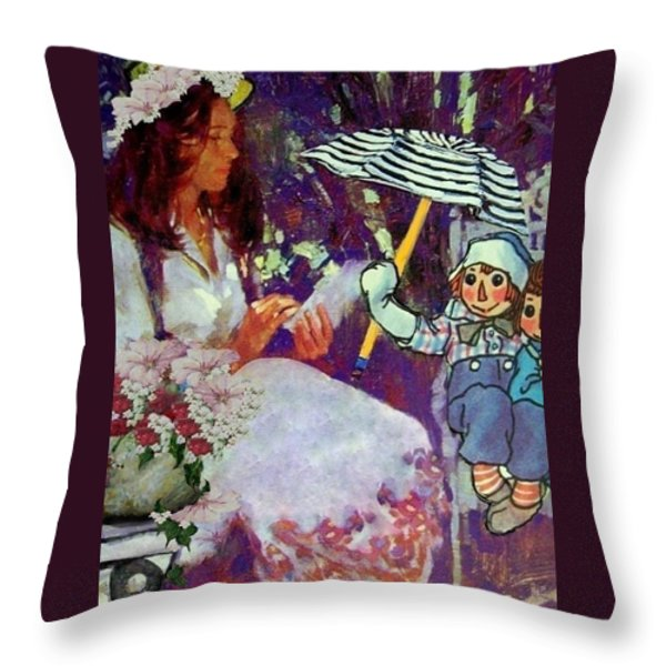 Raggedy Andy's Story Throw Pillow by Eloise Schneider