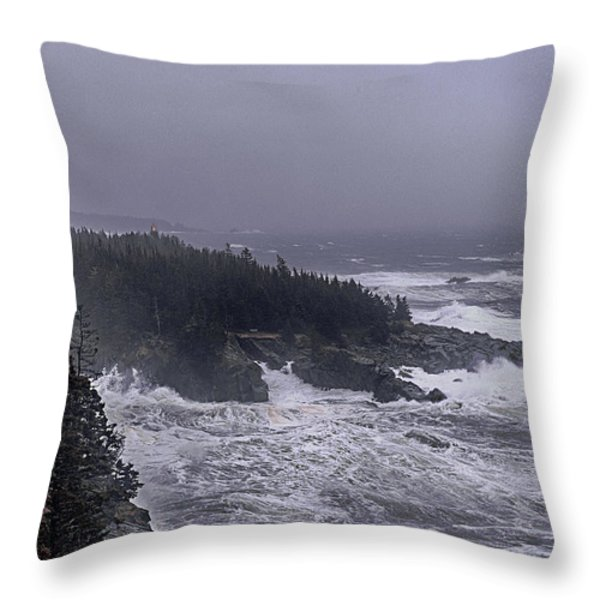 Raging Fury At Quoddy Throw Pillow by Marty Saccone