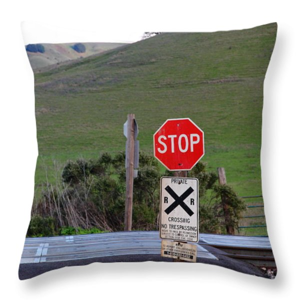 Rail Road Crossing Sign At Fernandez Ranch California - 5d21125 Throw Pillow by Wingsdomain Art and Photography