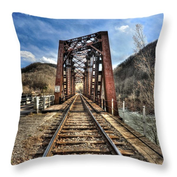 Railroad Bridge Into Thurmond Wv Throw Pillow by Dan Friend