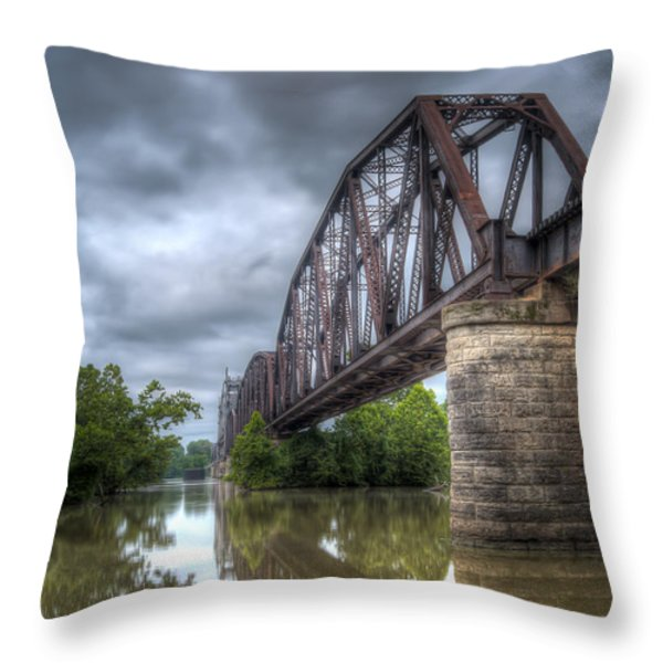 Railroad Bridge Throw Pillow by James Barber