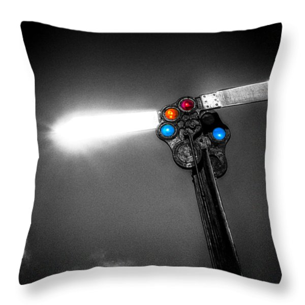 Railroad Signal Throw Pillow by Bob Orsillo