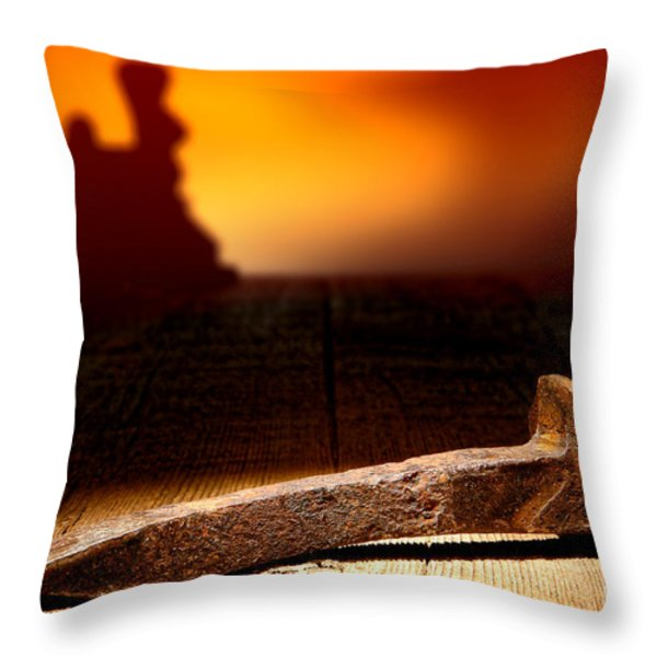 Railroad Spike Throw Pillow by Olivier Le Queinec