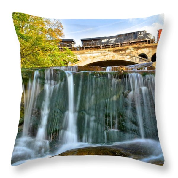 Railroad Waterfall Throw Pillow by Frozen in Time Fine Art Photography