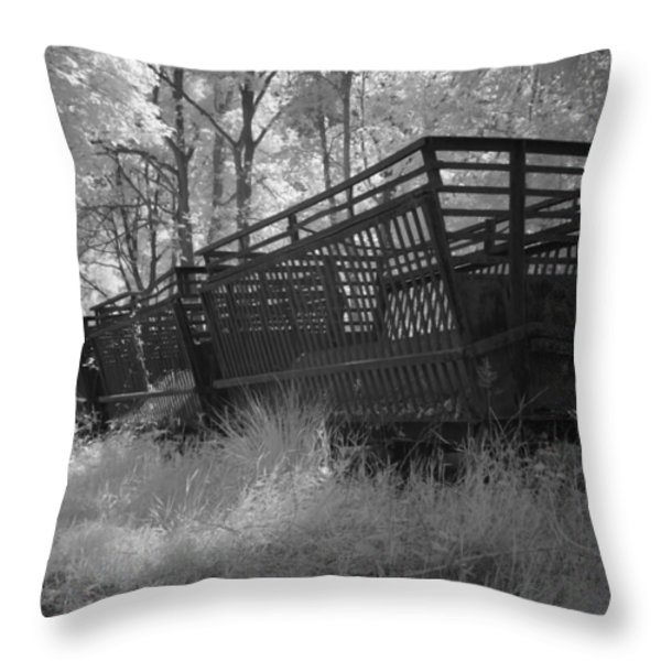 Rails and trains of a locomotive in infrared light in Netherlands Throw Pillow by Ronald Jansen