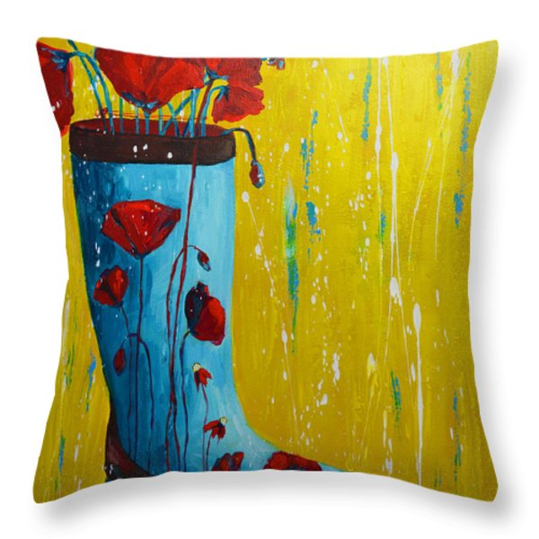 Rain Boot Series Unusual Flower Pots Throw Pillow by Patricia Awapara