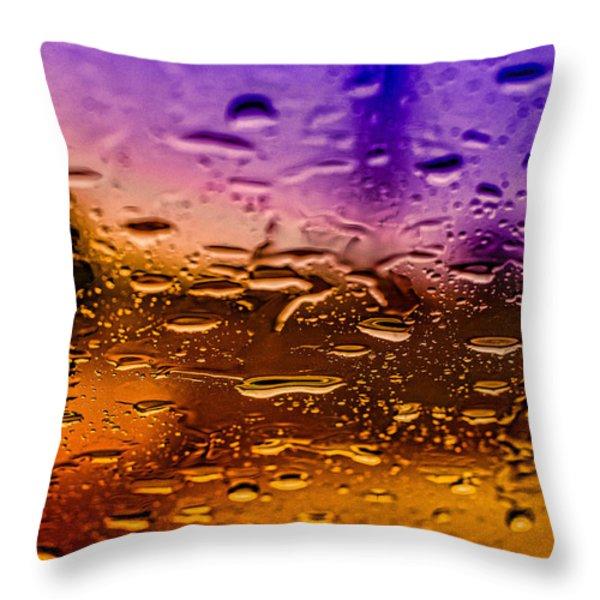 Rain on Windshield Throw Pillow by J Riley Johnson