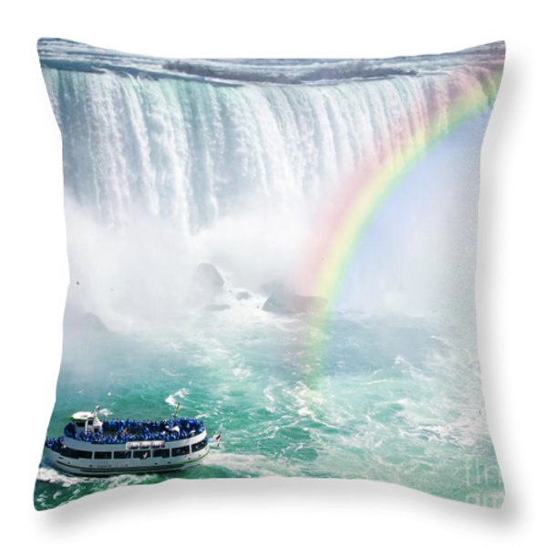 Rainbow and tourist boat at Niagara Falls Throw Pillow by Elena Elisseeva
