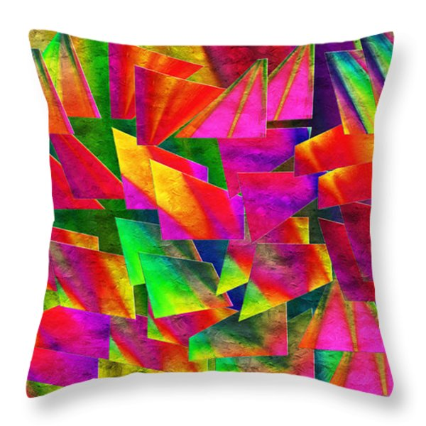 Rainbow Bliss 2 - Twisted - Painterly H Throw Pillow by Andee Design