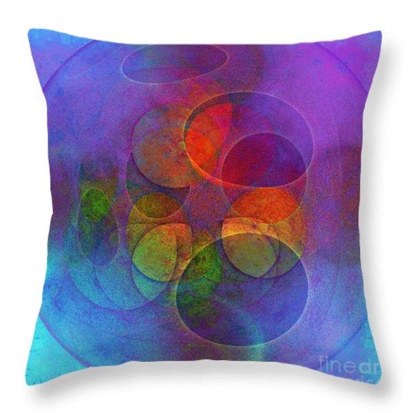 Rainbow Bubbles Throw Pillow by Klara Acel
