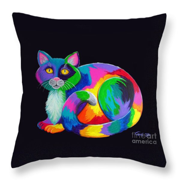 Rainbow Calico Throw Pillow by Nick Gustafson