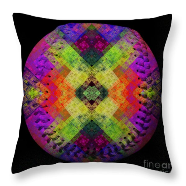 Rainbow Connection Baseball Square Throw Pillow by Andee Design
