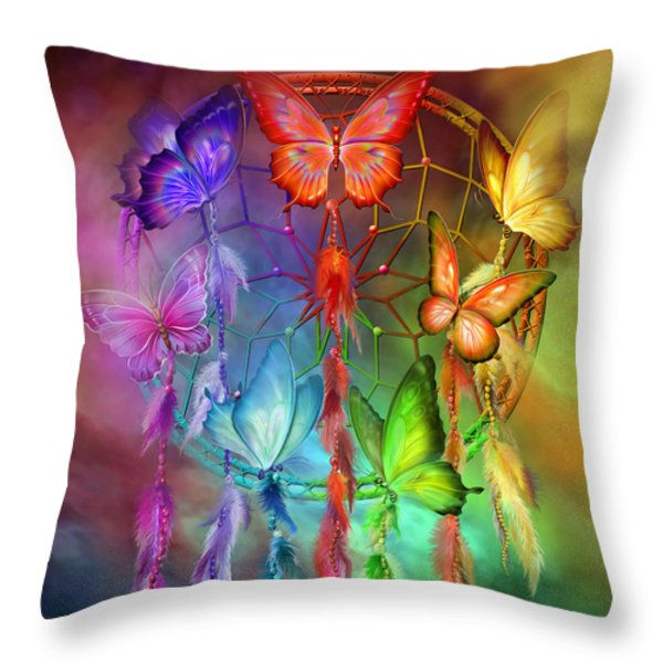 Rainbow Dreams Throw Pillow by Carol Cavalaris