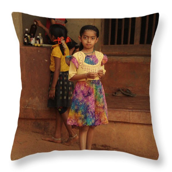 Rainbow Dress. Indian Collection Throw Pillow by Jenny Rainbow