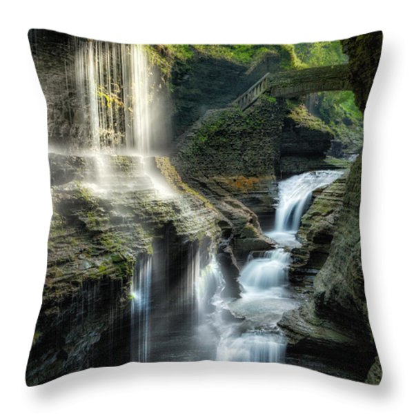 Rainbow Falls Throw Pillow by Bill  Wakeley