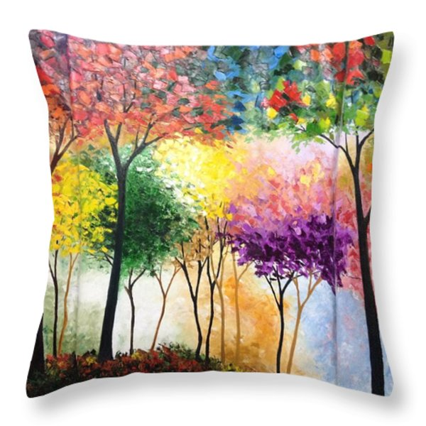 Rainbow Forest Throw Pillow by Shilpi Singh