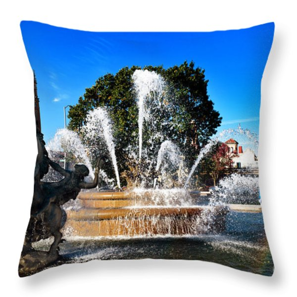 Rainbow In The Jc Nichols Memorial Fountain Throw Pillow by Andee Design