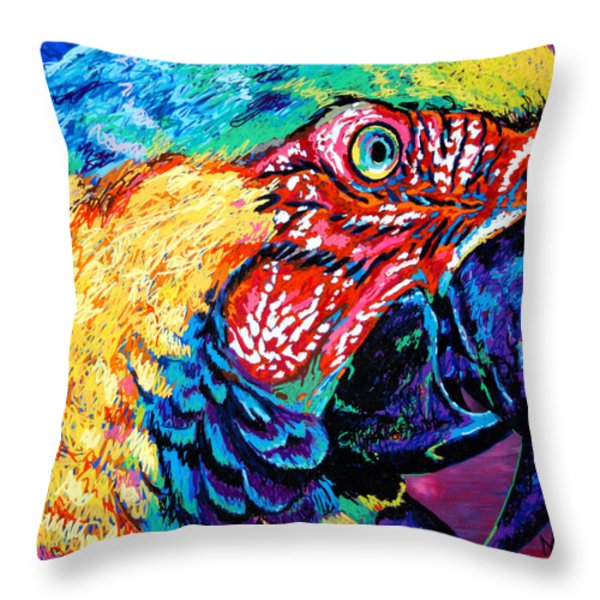 Rainbow Macaw Throw Pillow by Maria Arango