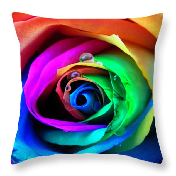 Rainbow Rose Throw Pillow by Juergen Weiss