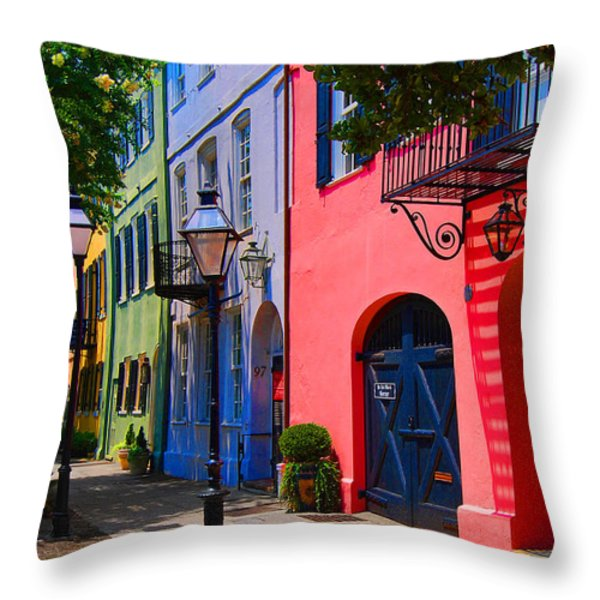 Rainbow Row Charleston Throw Pillow by Skip Willits