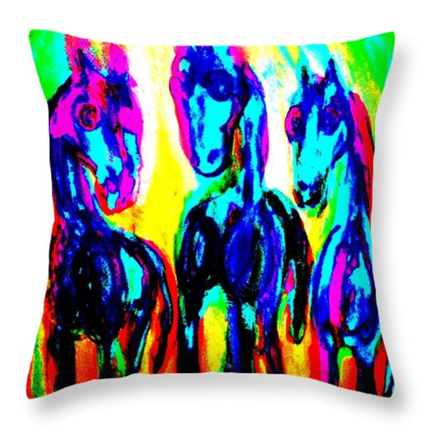 Rainbow stallions Throw Pillow by Hilde Widerberg