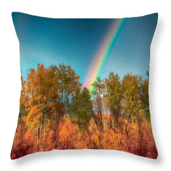 Rainbow Surprise Throw Pillow by Omaste Witkowski