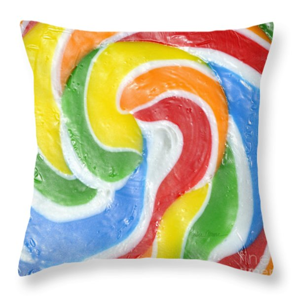 Rainbow Swirl Throw Pillow by Luke Moore