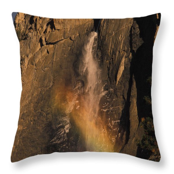 Rainbow, Upper Yosemite Falls Throw Pillow by Ron Sanford