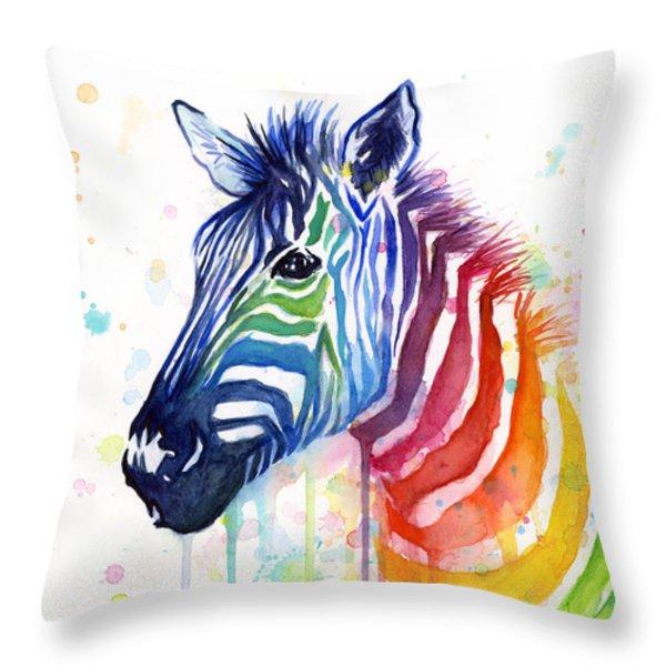 Rainbow Zebra - Ode to Fruit Stripes Throw Pillow by Olga Shvartsur