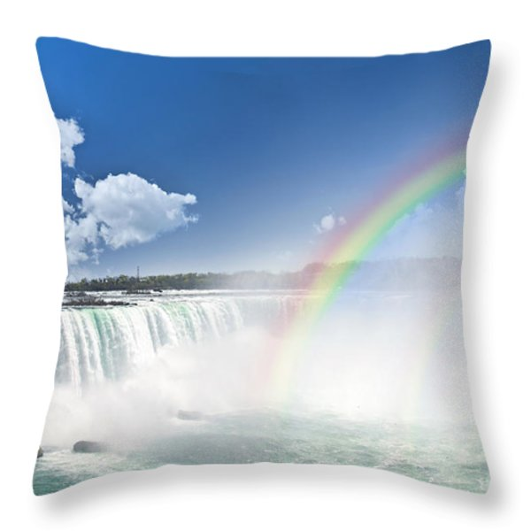 Rainbows at Niagara Falls Throw Pillow by Elena Elisseeva