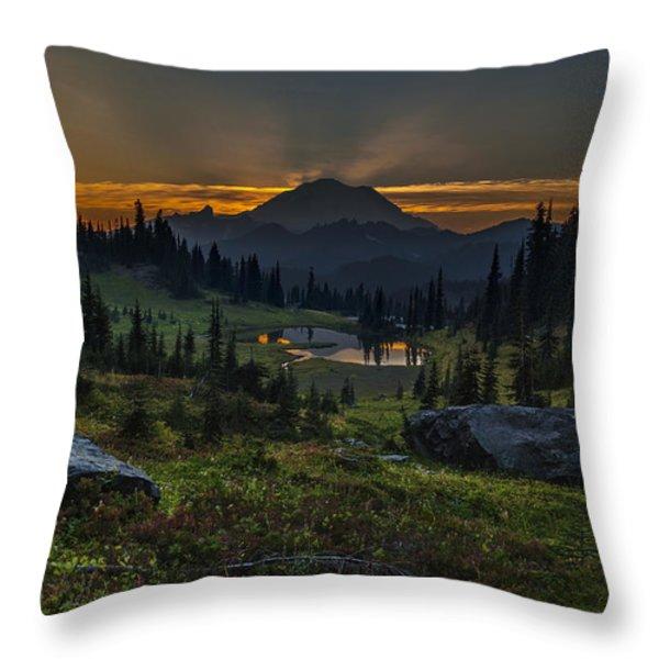 Rainier Sunset Basin Throw Pillow by Mike Reid