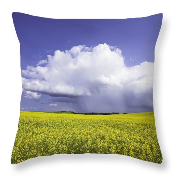 Rainstorm Over Canola Field Crop Throw Pillow by Ken Gillespie