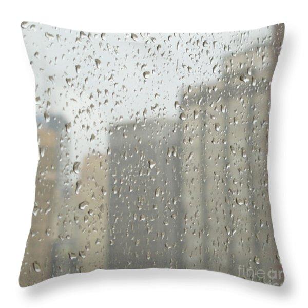 Rainy Day City Throw Pillow by Ann Horn