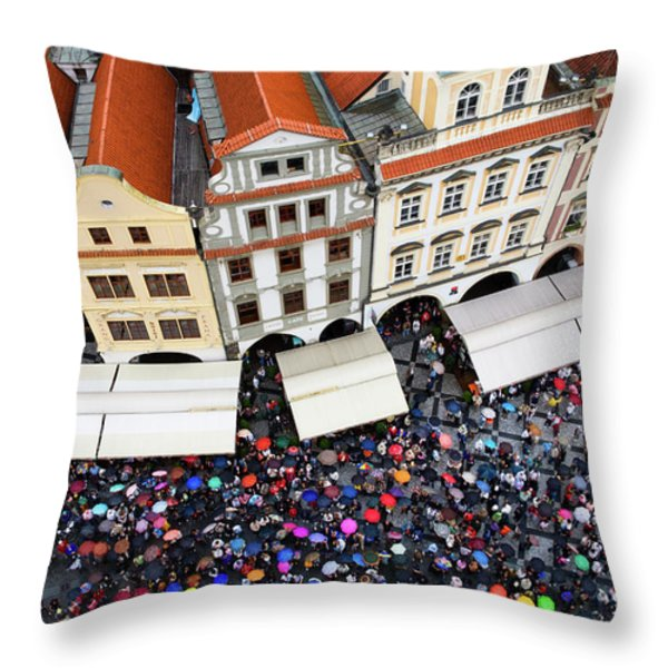 Rainy Day in Prague-1 Throw Pillow by Diane Macdonald